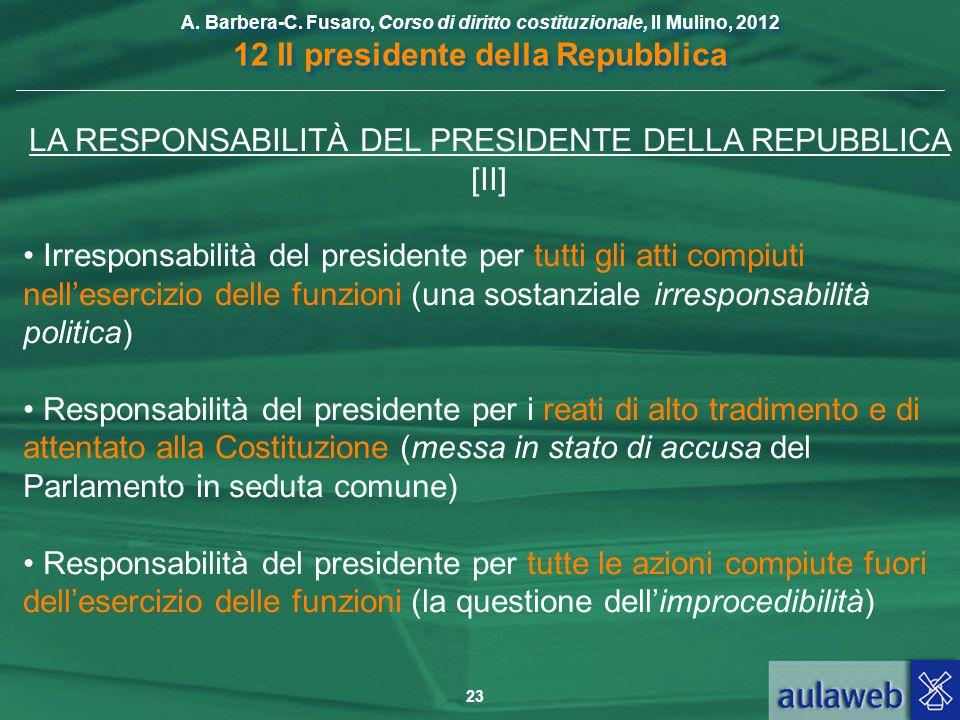 LA RESPONSABILITÀ DEL PRESIDENTE DELLA REPUBBLICA [II]